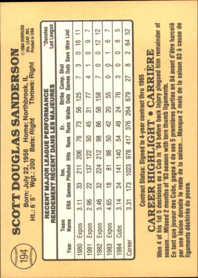 1985 Leaf/Donruss #194 Scott Sanderson back image