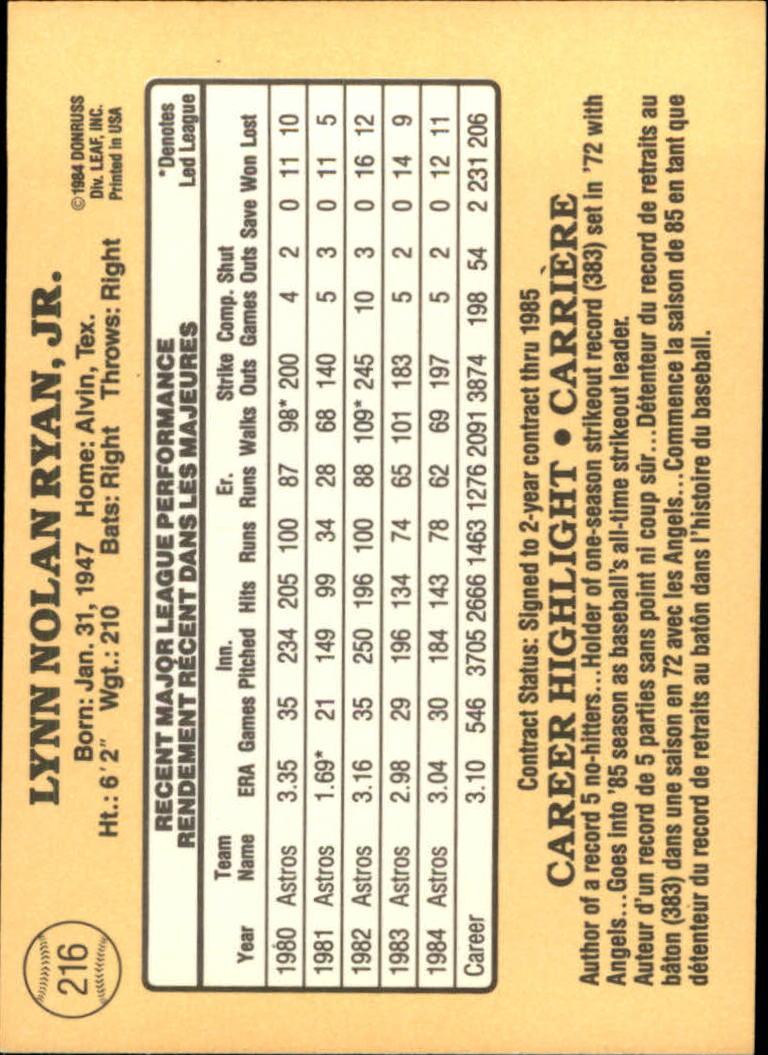 1985 Leaf/Donruss #216 Nolan Ryan back image