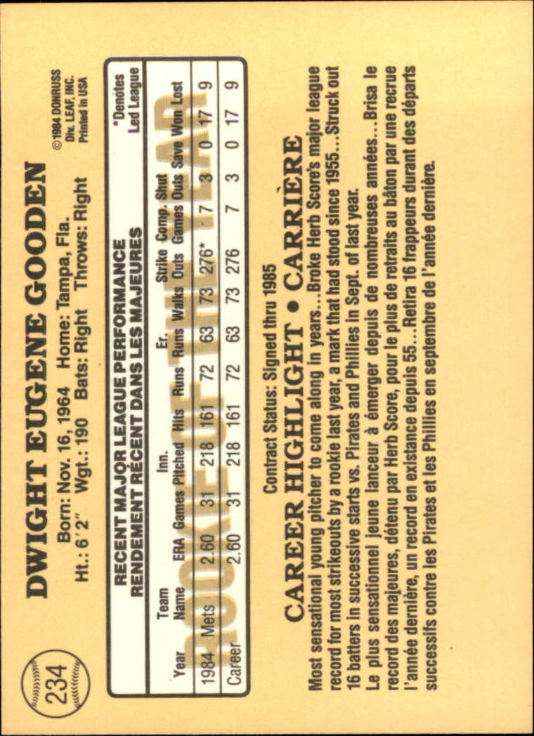 1985 Leaf/Donruss #234 Dwight Gooden RC back image
