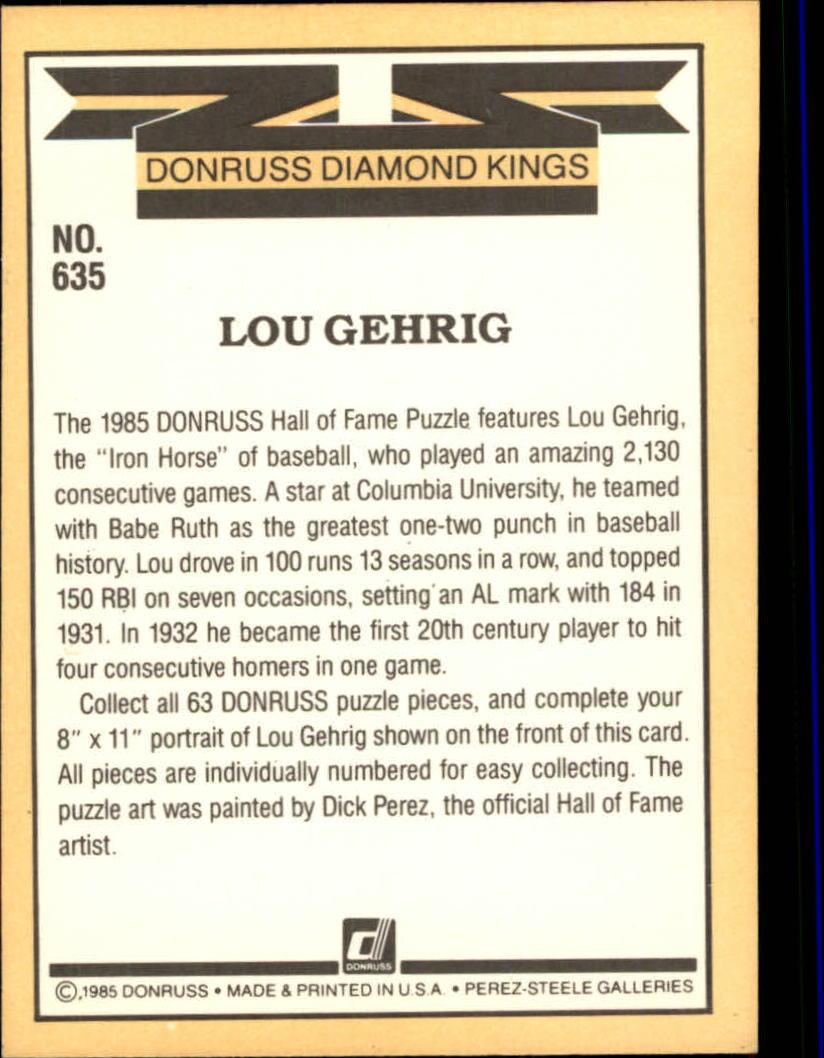 1985 Leaf/Donruss #635 Lou Gehrig/Puzzle Card UER/(Misnumbered) back image