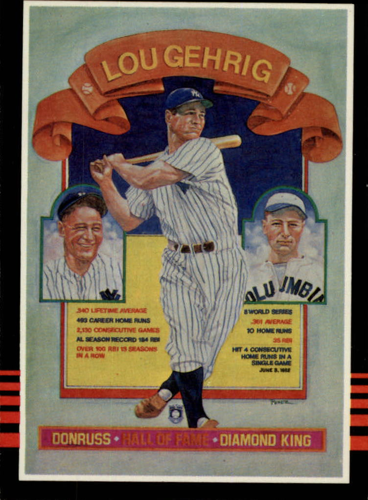 1985 Leaf/Donruss #635 Lou Gehrig/Puzzle Card UER/(Misnumbered)