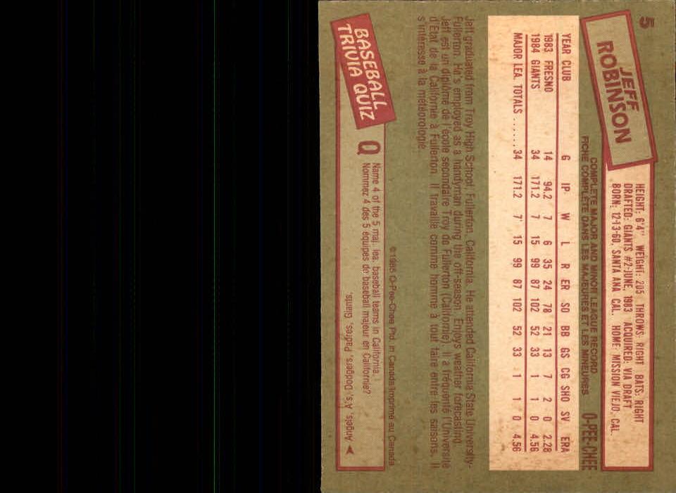 1985 O-Pee-Chee #5 Jeff Robinson back image