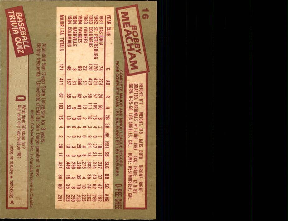 1985 O-Pee-Chee #16 Bobby Meacham back image