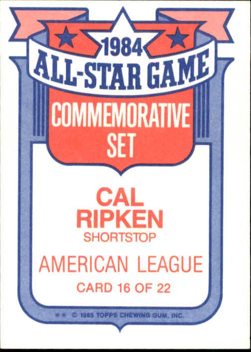 1985 Topps Glossy All-Stars #16 Cal Ripken back image