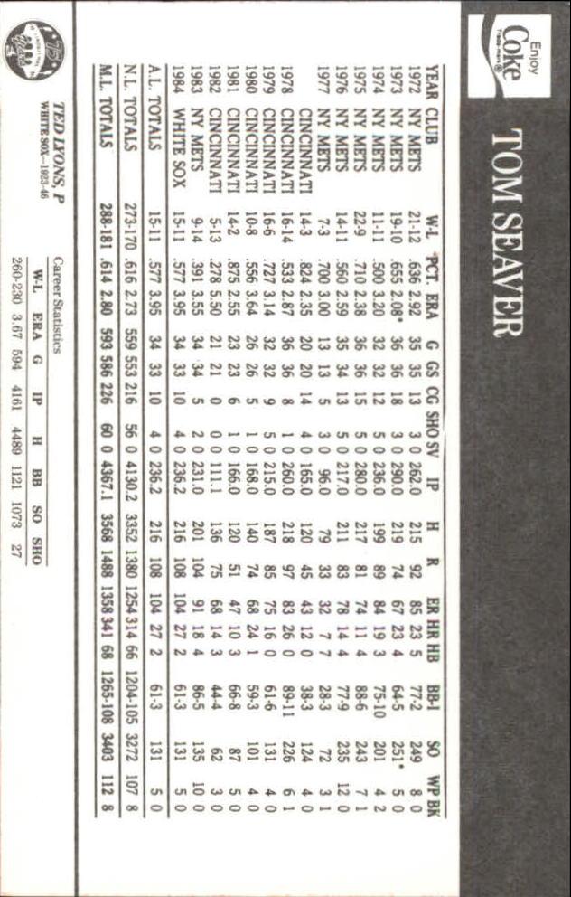 1985 White Sox Coke #41 Tom Seaver/Ted Lyons back image