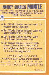 1985 Woolworth's Topps #23 Mickey Mantle back image