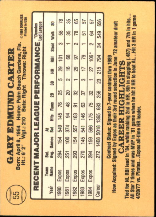1985 Donruss #55 Gary Carter back image