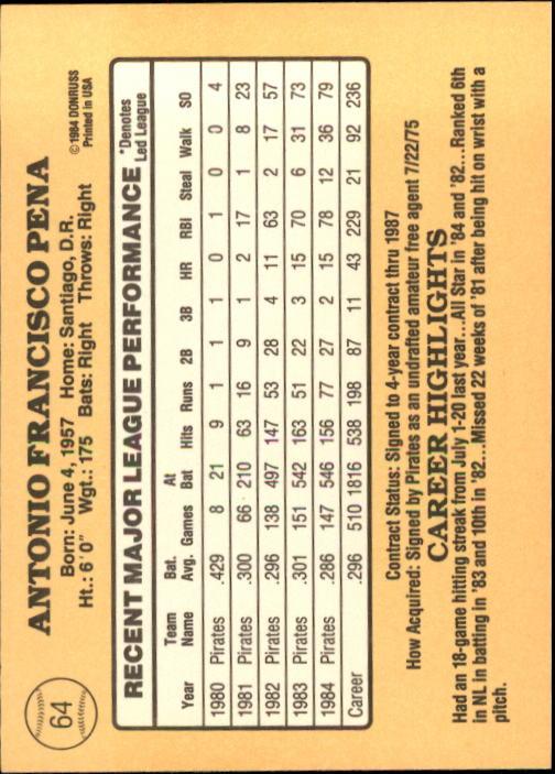 1985 Donruss #64 Tony Pena back image