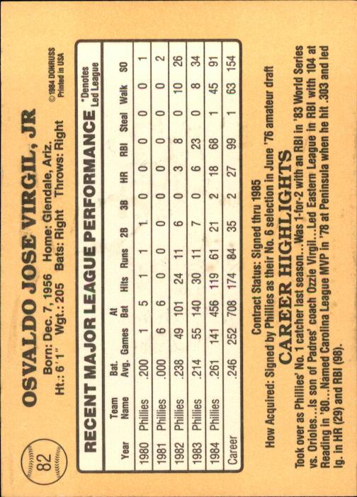 1985 Donruss #82 Ozzie Virgil back image
