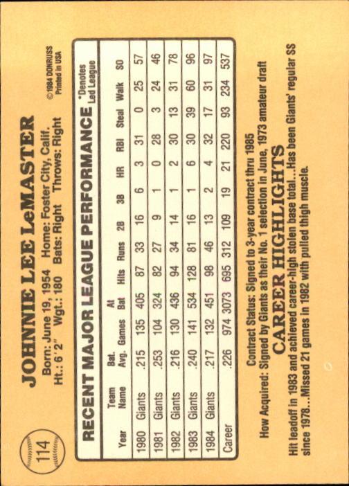1985 Donruss #114 Johnnie LeMaster back image
