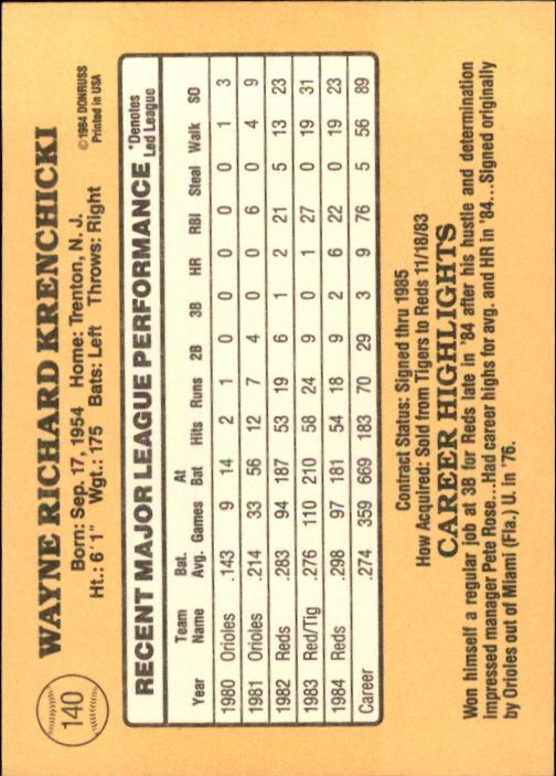 1985 Donruss #140 Wayne Krenchicki back image