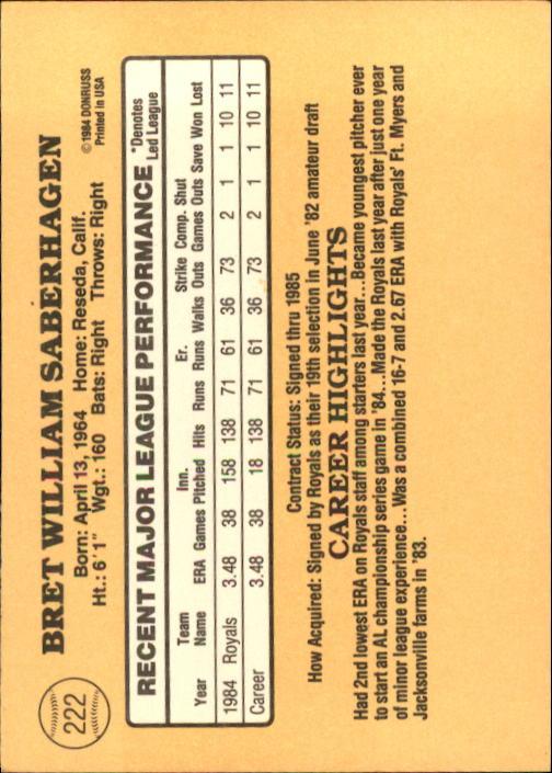 1985 Donruss #222 Bret Saberhagen RC/UER 18 career IP on back back image