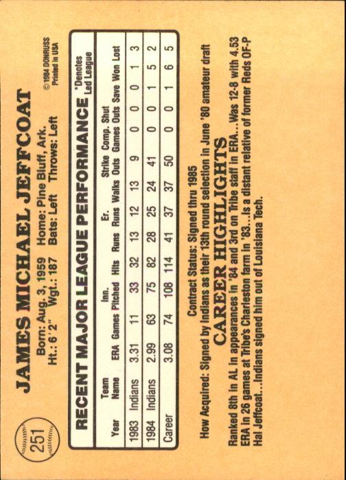 1985 Donruss #251 Mike Jeffcoat back image