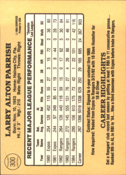 1985 Donruss #300 Larry Parrish back image