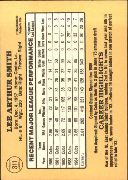 1985 Donruss #311 Lee Smith back image