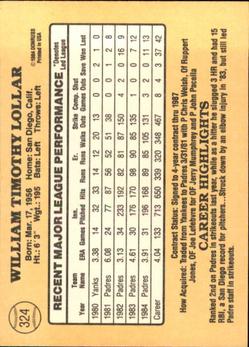 1985 Donruss #324 Tim Lollar back image