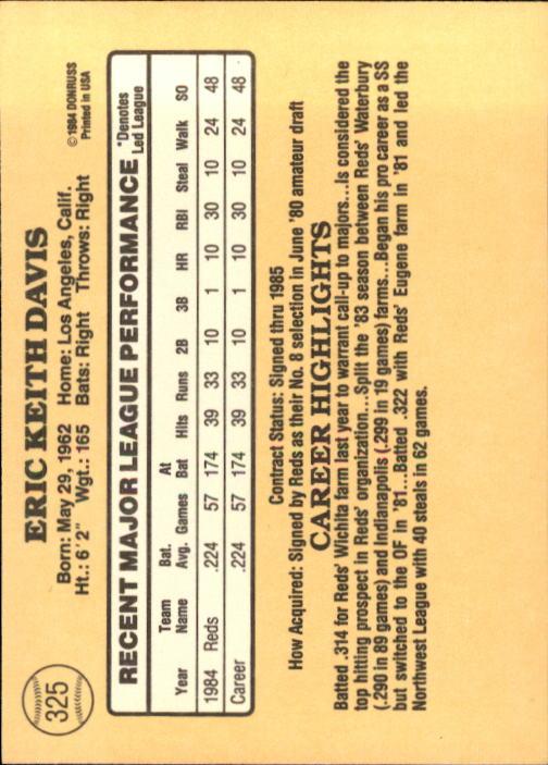 1985 Donruss #325 Eric Davis RC back image