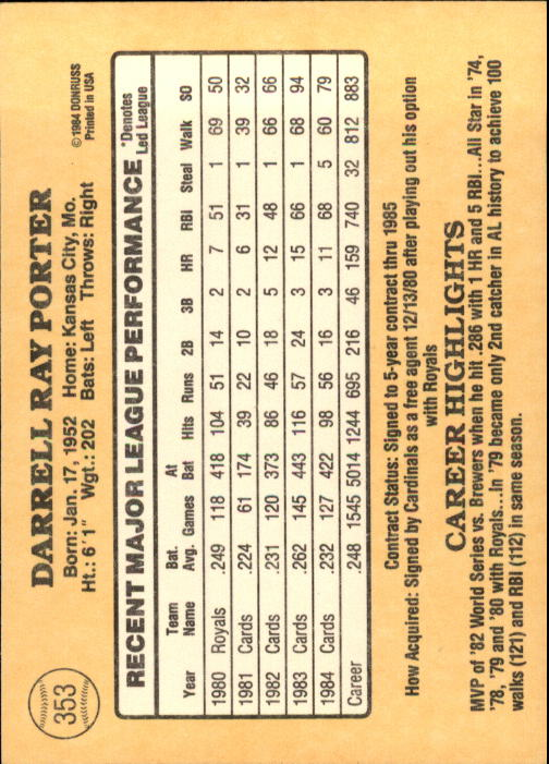 1985 Donruss #353 Darrell Porter back image