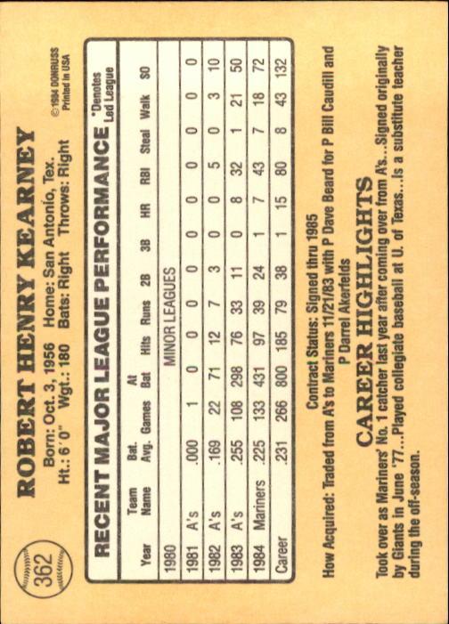 1985 Donruss #362 Bob Kearney back image