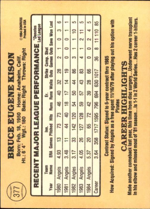 1985 Donruss #377 Bruce Kison back image