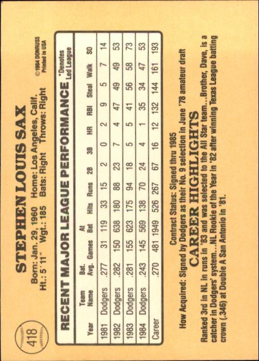 1985 Donruss #418 Steve Sax back image