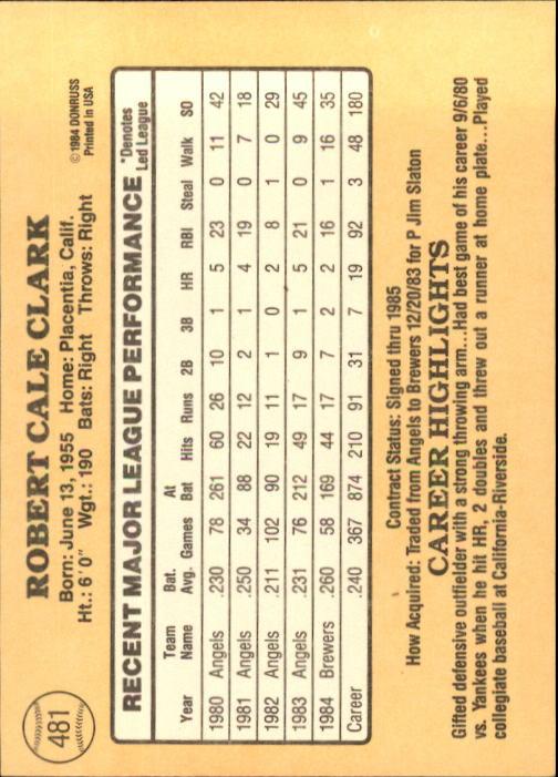 1985 Donruss #481 Bobby Clark back image
