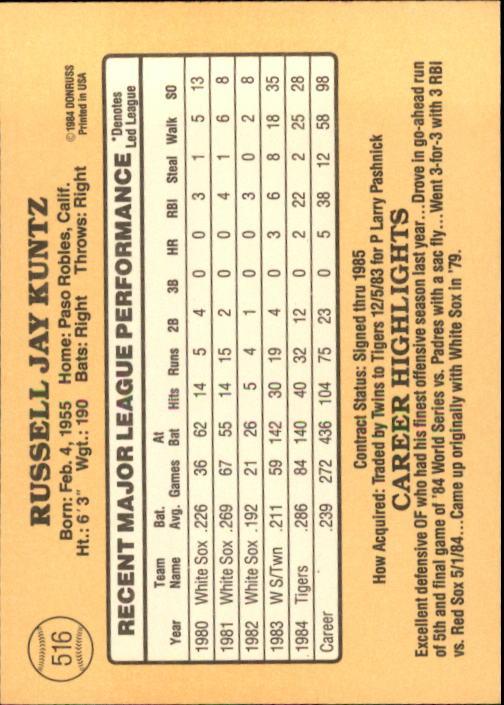 1985 Donruss #516 Rusty Kuntz back image