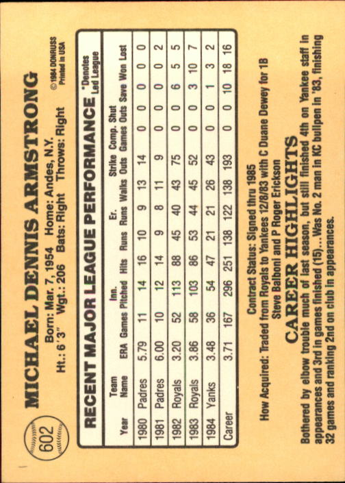 1985 Donruss #602 Mike Armstrong back image