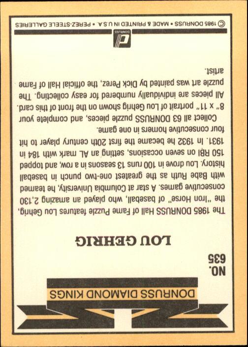 1985 Donruss #635 Lou Gehrig/Puzzle Card back image