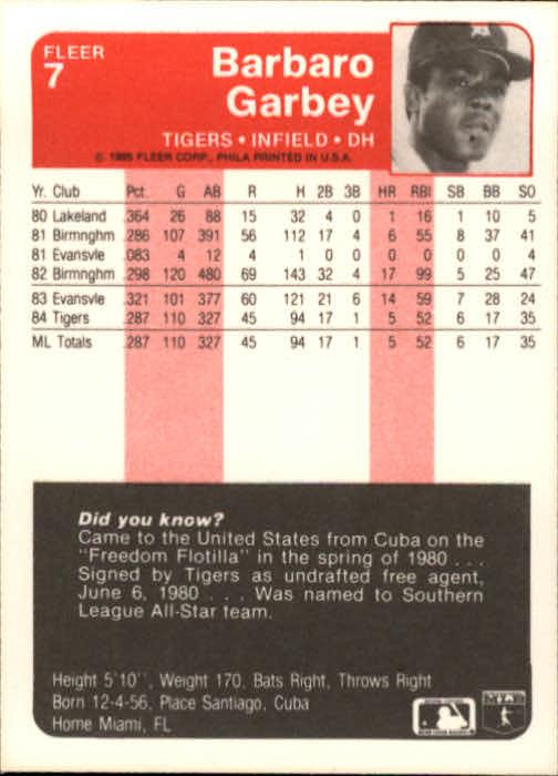 1985 Fleer #7 Barbaro Garbey back image