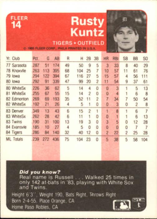 1985 Fleer #14 Rusty Kuntz back image