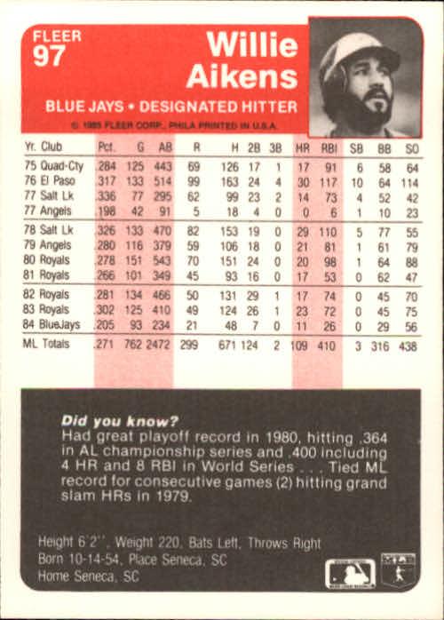 1985 Fleer #97 Willie Aikens back image