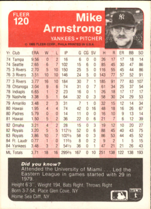 1985 Fleer #120 Mike Armstrong back image