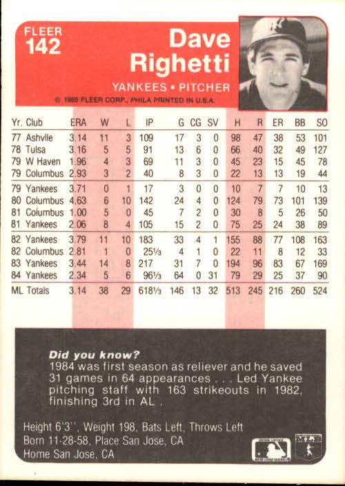 1985 Fleer #142 Dave Righetti back image