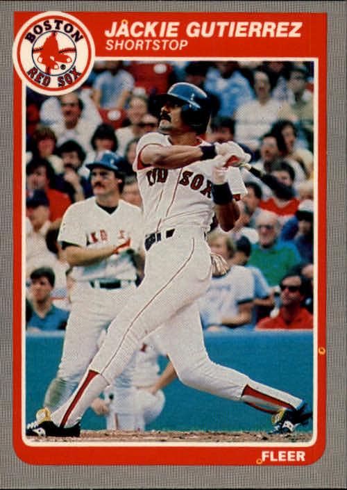 1985 Fleer #160 Jackie Gutierrez/Wade Boggs/shown on deck