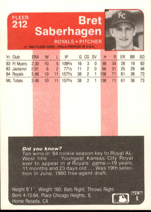 1985 Fleer #212 Bret Saberhagen RC back image
