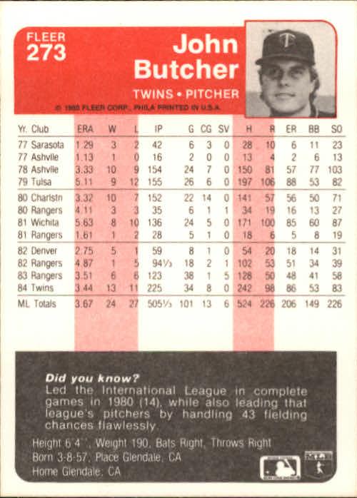 1985 Fleer #273 John Butcher back image