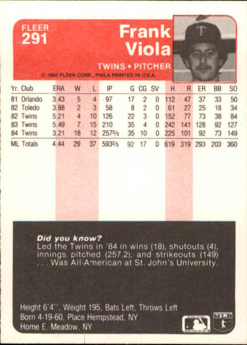 1985 Fleer #291 Frank Viola back image