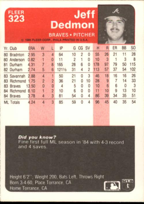 1985 Fleer #323 Jeff Dedmon back image