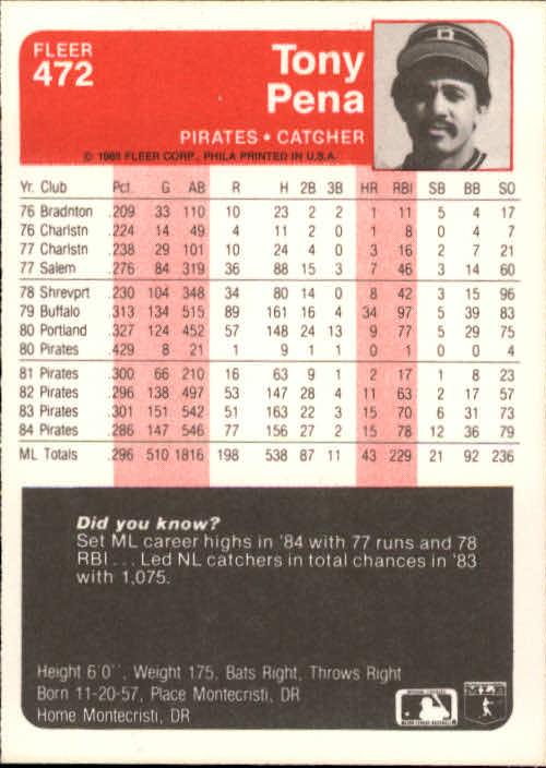 1985 Fleer #472 Tony Pena back image