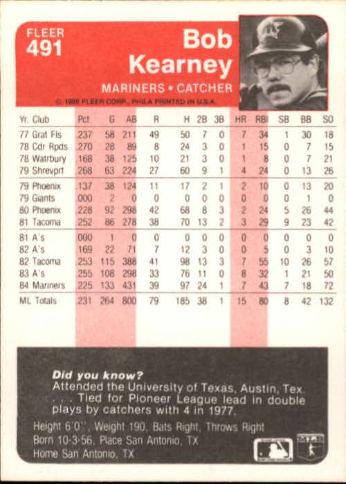 1985 Fleer #491 Bob Kearney back image