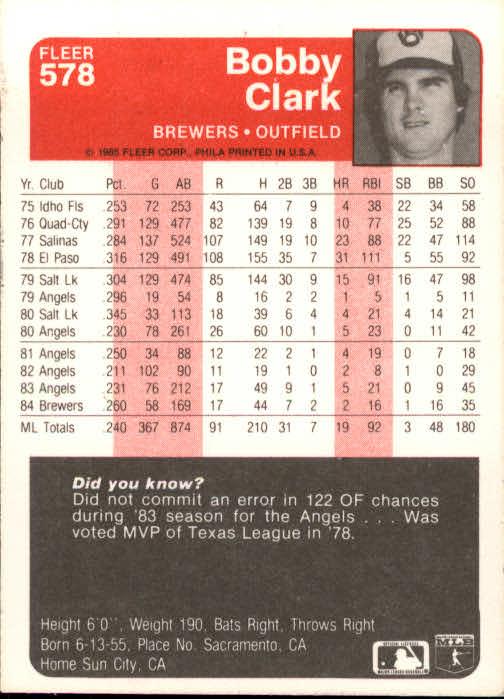 1985 Fleer #578 Bobby Clark back image