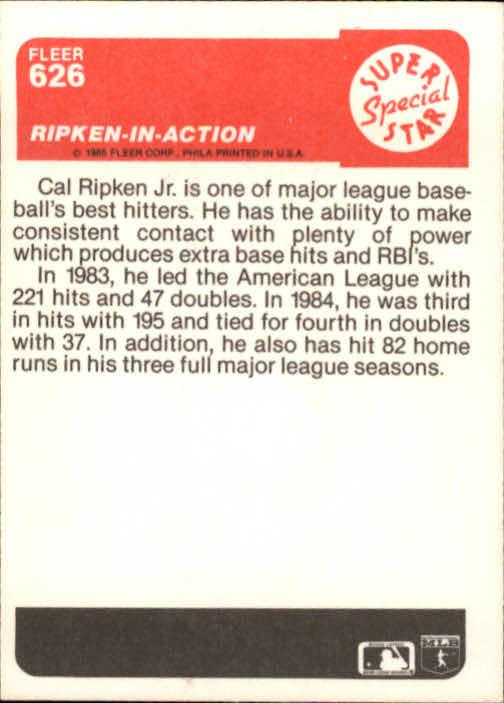 1985 Fleer #626 Cal Ripken IA back image