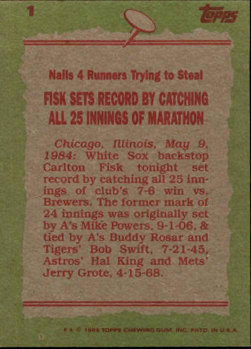 1985 Topps #1 Carlton Fisk RB back image