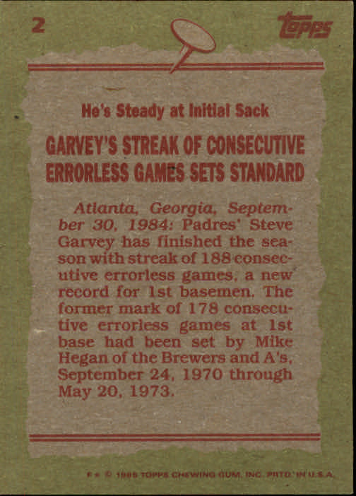 1985 Topps #2 Steve Garvey RB back image