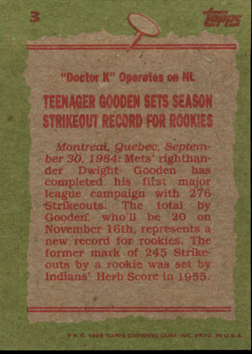 1985 Topps #3 Dwight Gooden RB back image