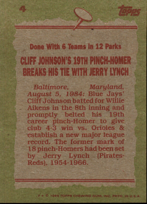 1985 Topps #4 Cliff Johnson RB back image