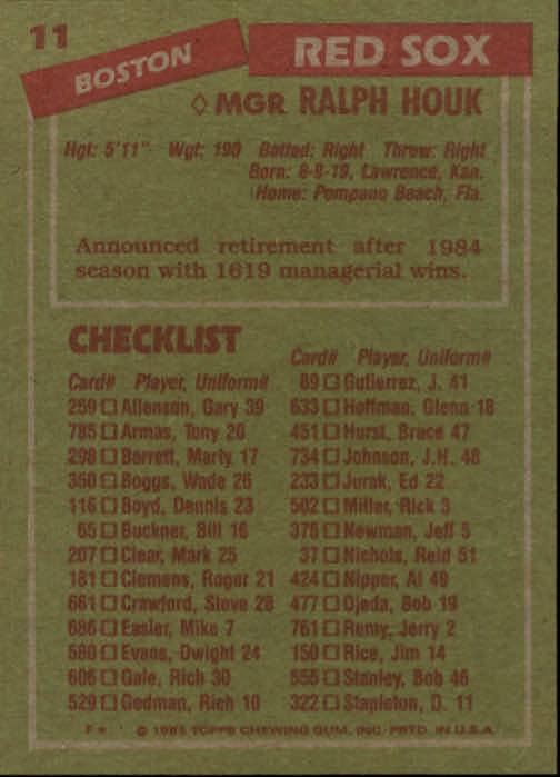 1985 Topps #11 Ralph Houk MG back image