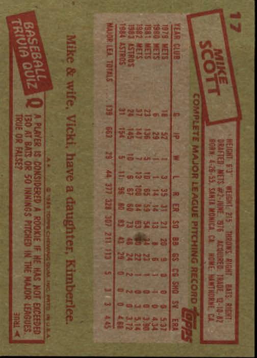 1985 Topps #17 Mike Scott back image