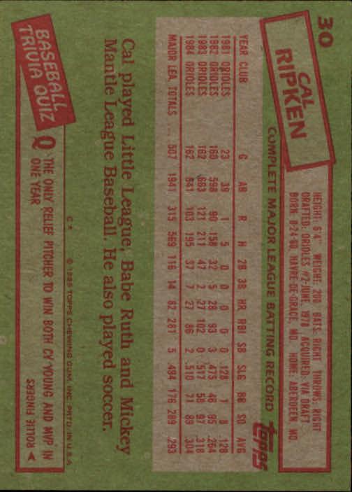 1985 Topps #30 Cal Ripken back image